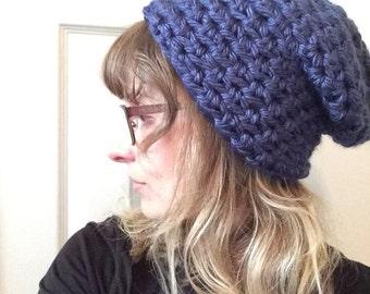Navy Beanie / Floppy beanie / slouchy beanie / winter hat / toboggan