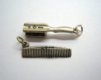2 Vintage Hair Stylist Charms, Brush and Comb, Authentic RIO GRANDE Sterling 3-D Pendant / 4.1 Grams, Free US Shipping