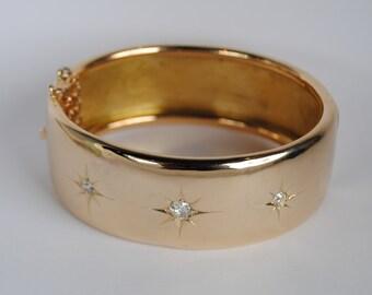 Retro 14kt 3 Diamond Gold Hinged Bangle Bracelet