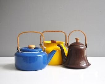 Vintage Dark Brown Enamel Tea Kettle