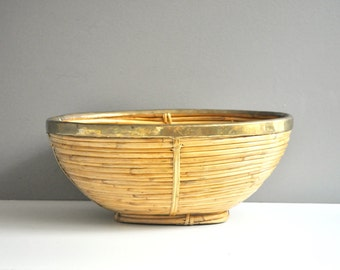 Vintage Bamboo and Brass Basket