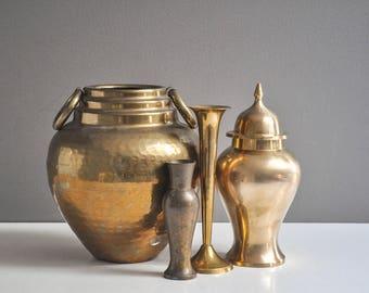 Vintage Solid Brass Ginger Jar