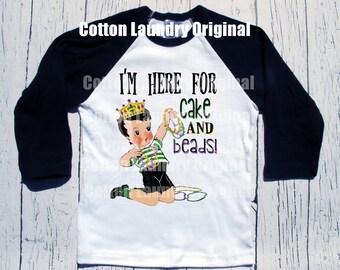 "Mardi Gras Boys Childrens Raglan Shirt..""I'm here for cake and beads!""...tee shirt baseball style Mardi Gras"