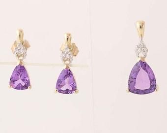 Amethyst and Diamond Earrings & Pendant Set - 14k Yellow Gold Pierced 4.15ctw N6949