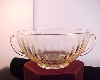 Depression Glass Pink Petalware Cream Soup Bowl by MacBeth Evans, 1930s Collectible Kitchen Glassware