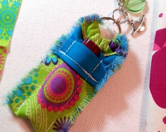 Far out and Funky Lip Balm Holder Purse Clip, Chapstick Holder Keychain for Women, Girlie Fashion Accessory, Purse Bling, Boho Fashion