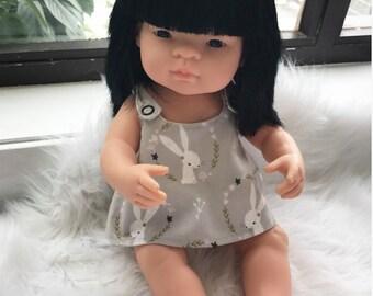 Doll clothing set. To suit 38cm miniland dolls. Doll nappy/diaper, doll reversible dress, doll dribble bib. Doll dress. Girl doll clothes.
