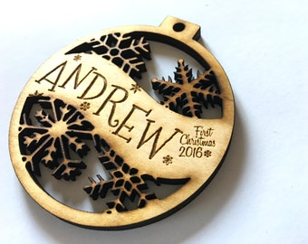 Andrew - Customizable Baby's First Christmas Ornament - Engraved Birch Wood Ornament