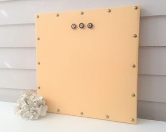Magnet Board Yellow Linen Square MAGNETIC Organization Bulletin Board 16 x 16 Brass Nail Upholstery Tacks and Magnets Modern Wall Art