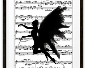 Fairy Angel With Wand Silhouette Music Book Page Art Print, Mixed Media, Home & Living, Home Decor, Gift Ideas, Dancer, Girls Room, Dorm