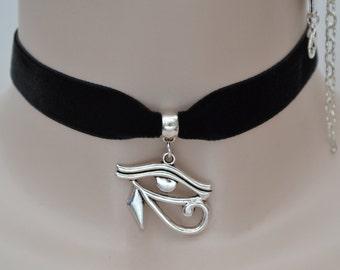 Egyptian EYE of HORUS Charm 16mm Black Velvet Ribbon Choker - ij.. or choose another colour velvet :)
