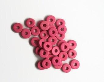 8mm Pink Round Washer Beads, Mykonos Greek Ceramic Beads, Mykonos Round Washer, 8mm C 10 442