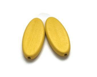 6 Large Yellow Oval Wooden Beads, Oval Wood Beads, Large Wooden Beads W 70 052