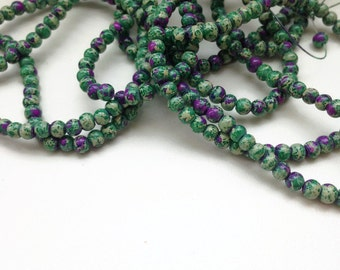 100 Mottled Beads, Mottled Glass Beads Green Purple Glass Beads, 4mm G 50 041