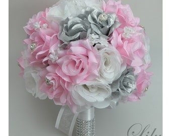 "17 Piece Package Silk Flowers Wedding Bridal Bouquet Party Bride Artificial Bouquets Decoration PINK SILVER WHITE ""Lily of Angeles"" PISI02"