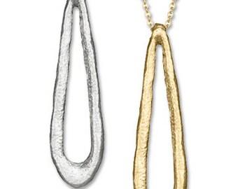 Oblong Open TEAR DROP Pendant NECKLACE, Sterling Silver or Gold, On Sale, Tear Drop Pendant, Tear Drop Necklace
