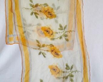 Sheer Vera Yellow Rose Scarf