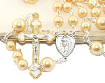 Gold Swarovski Crystal Pearls & Silver Catholic Rosary