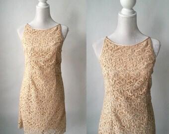 Vintage Dress, Vintage Gold Dress, Vintage Lace Dress, 1980s Lace Dress, Vintage Party Dress, 80s Gold Dress, Retro Gold Lace Dress, Mini