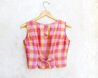 Vintage 1960 Silk Top, X Small Vintage, Pink Plaid Blouse, 60s Sleeveless Mod Top