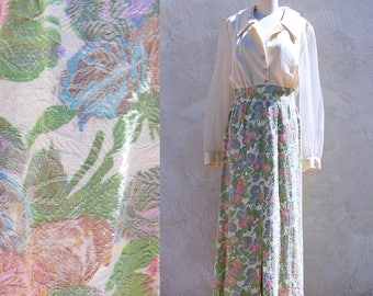 Vintage 70s Pastel Maxi, Long sleeve Floral Dress