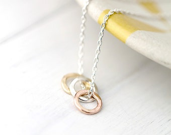 Three Ring Hammered Circle Necklace | Dainty Minimalist Necklace in Sterling Silver, Gold Filled, Rose Gold Filled | Minimal Jewelry Burnish