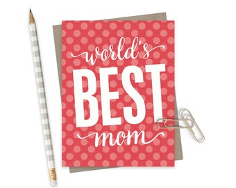 World's Best Mom Mothers Day Card  / Mothers Day Greeting Card / Card for Mom / Mom Card / Funny Birthday Mom Card