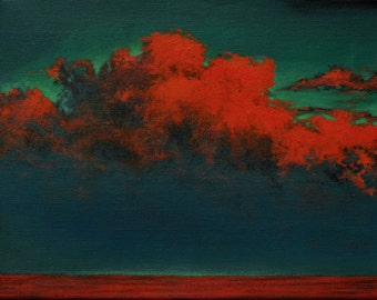 Original Landscape Painting, Southwest Painting, Sunset Painting, Surreal Landscape, Cloud Painting, Small Painting by Ron Beller
