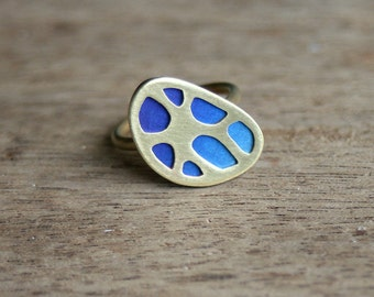 Organic Patterns Ring, One of a Kind, size 6.5