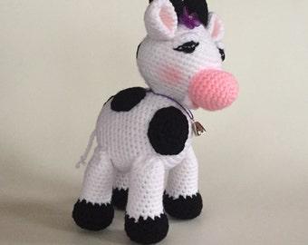 Crocheted Cow - Made to Order - amigurumi - crocheted cow - nursery decor