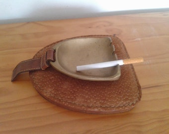 Vintage leather and brass ashtray, made in Argentina, home decor