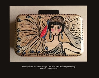 Art deco hand painted wooden evening handbag