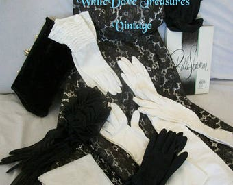 Vintage Evening Gloves ~ Black & White Opera Gloves ~ Sheer Cotton 1950's Never Worn Sale