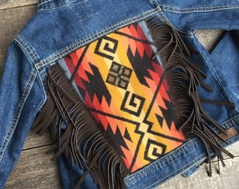 Cheyenne Hipster Jean Jacket Child 7-8 // Pendleton Brown Chap Leather Fringe // Rosebud Originals