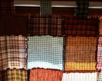 Cafe Style Window Set Valance Top and Bottom Panel Homespun Fabrics with or without Muslin Back lining custom made just 4 you