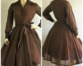Vintage 50s brown dotted swiss day dress - 1950s full skirt brown and white polka dot tea length dress - small