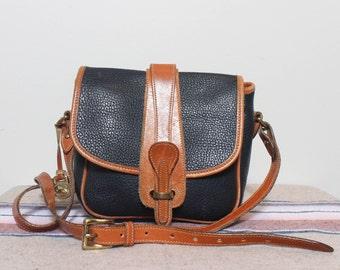 Dooney and Bourke AWL Binocular Bag Black Leather with British Tan Trim