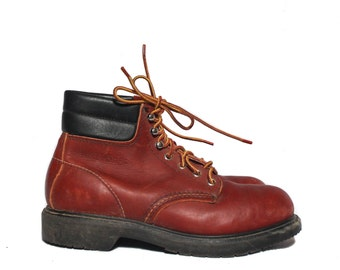 7 1/2 D | Vintage Red Wing Ankle Boots Steel Toe Lace Up Work Boots with Padded Cuffs