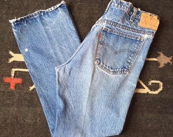 35 waist | 1970's Vintage Orange Tab Levis 517 Bootcut Denim Faded & Worn In