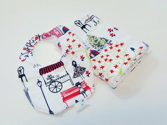 Bib and Burp Cloth Set - Red Paris- Baby Girl Bib