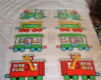 Vintage Circus Train Soft Sculpture Fabric Panel with 4 Cars by Springs Mills