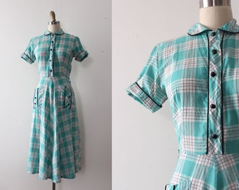 vintage 1940s dress // 40s 50s plaid cotton day dress