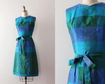 CLEARANCE vintage 1960s dress // 60s silk dress with belt