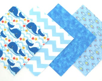 """48 Piece Flannel Rag Quilt Kit 6""""x6"""" Pre Cut Quilt Squares in Fun Blue Whales, Chevron, Blue Sea and Tiny Fish Matching Prints"""