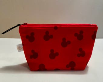 Mickey Mouse, Disney, Zipper Bag, makeup bag, cosmetic bag, zipper pouch, toiletry bag, gift for women, pencil case
