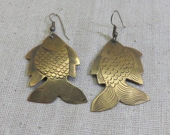 Adorable Vintage Brass Fish Pierced Earrings, 1970 Brass Fish Earrings