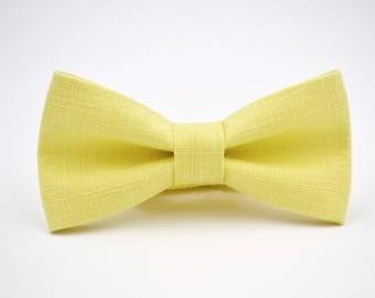 Mens Bowtie in Yellow Linen, Groomsman Bow Tie, Wedding Bowties, Yellow Bow Tie