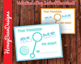 Bubbles Valentine Printable Instant Download Valentine's Day Cards