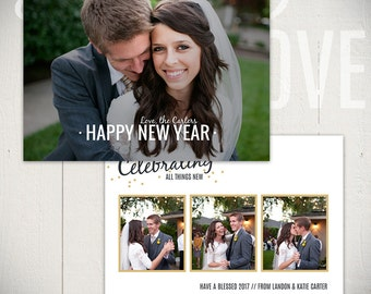New Years Card Template: Confetti D - 5x7 New Year Card Template for Photographers