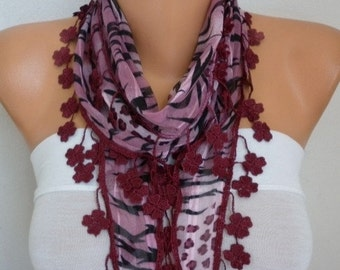 ON SALE --- Burgundy  Zebra Floral Scarf,Summer Scarf,Cowl,Shawl,Bridesmaid gift,gift ideas for her,women scarves - best selling item scarf